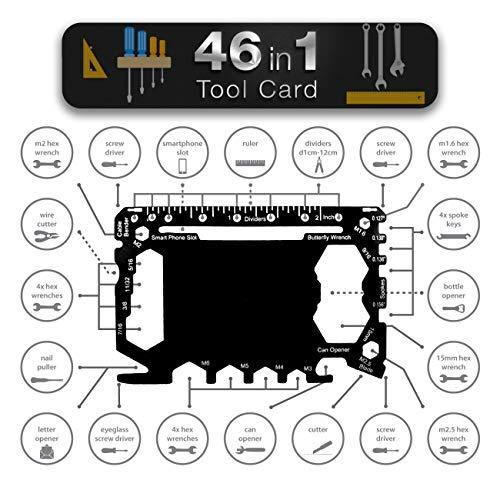 Multiwerkzeug in Kartengröße für die Brieftasche Werkzeug - Geschenk für Männer 46 in 1 | Outdoor-Campingzubehör | Heimwerkergeräte | Komplettset Schraubendreher, Flaschenöffner