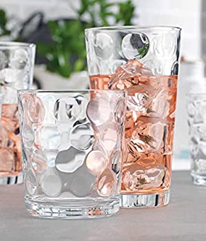Glassware Drinking Glasses Set Of 8 by Home Essentials & Beyond 4 Highball  17 oz  Kitchen Glasses | 4  13 oz  Rocks Glass Cups for Water Juice and Cocktails.