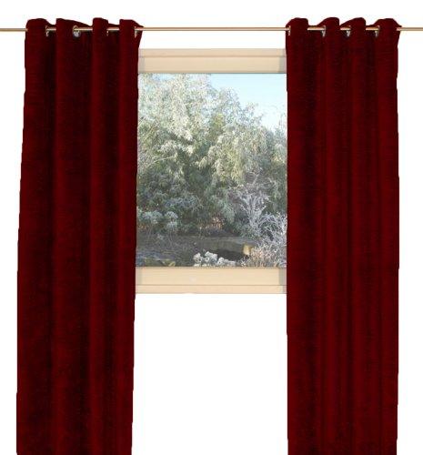 """Vorhang \""""Grönland A\"""", Thermo-Chenille Ösenschal, Farbe:rubin, 225/134 cm, Schwere Qualität: 330g/qm, Einzelschal, Thermovorhang"""