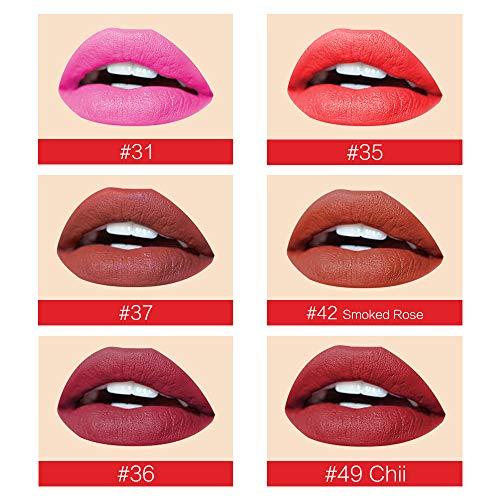 Lippenstift Set Wasserfest Lippenstift Matt Set Lipgloss Set Wasserdicht Lippenstift langer halt Feuchtigkeitsspendender Lippenstift soft 6 Farben