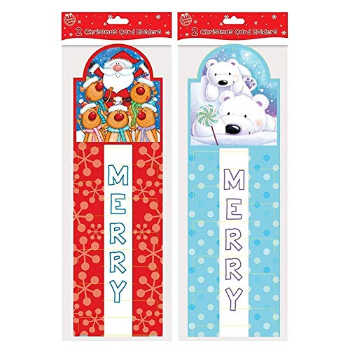 Set Of 2 Cute Christmas Card Holders - Santa Claus, Reindeer & Polar Bear Design