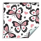 Muralo 80877968 - Papel Pintado para niños, diseño de Mariposas, Corazones y Flores