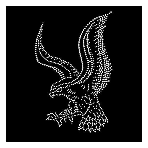 Strasselse Strassmotiv Adler - Bügelbild Applikation kristallklar - Glitzerbild für T-Shirt Pullover Tasche etc. - Strass-Applikation zum Aufbügeln - Größe 14 x 22,5 cm