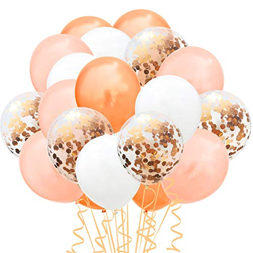 TOPWINRR 60 Stück Helium Party Ballon Hochzeit Deko Luftballons Geburtstag Kinder Latex Konfetti Ballons Dekoration (Orang Rosegold)