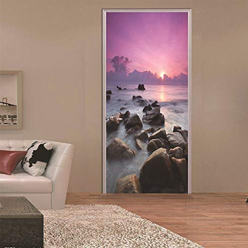 Reef Door Sticker 3D Vinyl Mural Self Adhesive Removable Wallpaper Decal Interior Doors Bedroom Living Room Decor for Home 90 * 200Cm