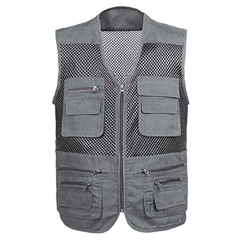 Chaleco de malla de secado rápido para hombre con muchos bolsillos transpirable multi-bolsillo chaleco de pesca