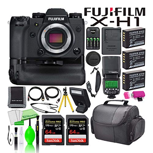Fujifilm x-h1 mirrorless digital camera with battery grip (16568755) usa model bundle with (2) sandisk 64gb extreme pro sd cards + (3) batteries + godox tt685f ttl flash + camera bag + much more