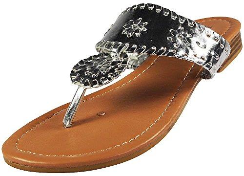 Pierre Dumas Womens Rosetta 1 Sandals,Silver,9