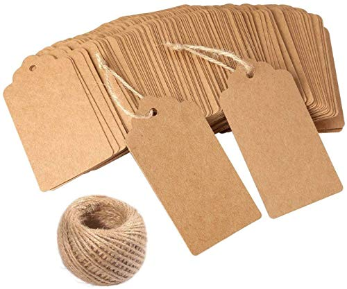 Puzzlos Gift Tags,100 PCS Kraft Tags Christmas Tags for Wedding Brown DIY Rectangle Craft Hang Tags with Free 160 Feet Natural Jute