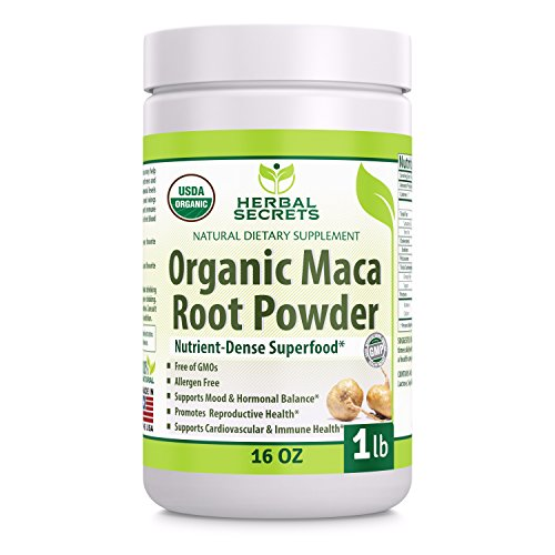 Herbal Secrets USDA Certified Organic Maca Root Powder- 16 oz (1 lb)- GMO Free- Supports Healthy Mood, Hormonal Balance, Cardiovascular Health & Immune Health