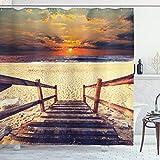 ABAKUHAUS Playa Cortina de Baño, Romántica de la Puesta del Horizonte, Material Resistente al Agua Durable Estampa Digital, 175 x 200 cm, Crema de Naranja