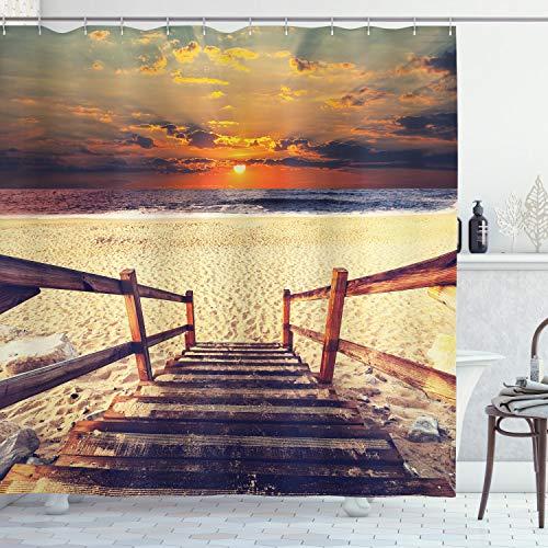 ABAKUHAUS Playa Cortina de Baño, Romántica de la Puesta del Horizonte, Material Resistente al Agua Durable Estampa Digital, 175 x 240 cm, Crema de Naranja