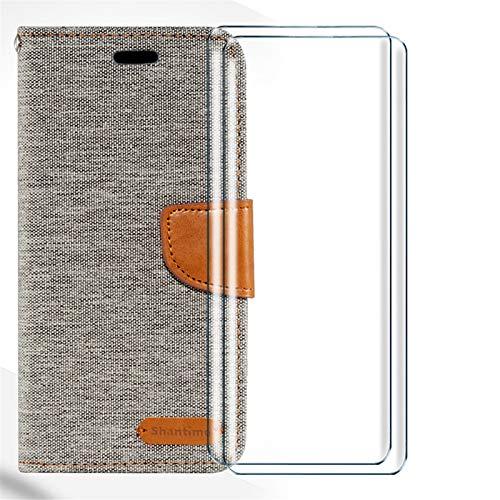 HYMY Denim Hülle für Wiko Y80 + 2 Pcs Schutzfolie Panzerglas Folie - Lederhülle Flip Schutzhülle Card Slot mit Brieftasche Handyhülle Bookstyle Flip Cover Hülle-Gray