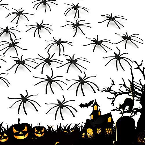 AFASOES 100 Stück Halloween Spinne Plastikspinnen Gefälschte Spinne Schwarz Kunststoff Halloween Deko Spinnen Groß Streich Realistische Plastik Spinne für Halloween Party Dekoration ca.4.8cm