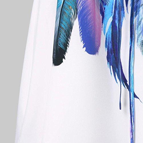 Women Summer Casual Mini Dresses Cuekondy Feather Printed Sleeveless Cami Strap Beach Vest Dress Sundress