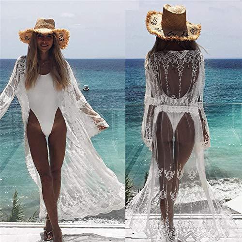 ISKER badpak dit lange mouwen strandjurk vrouwen feesten witte kant zomer strandkleed vrouwen Beachwear tuniek sarong dame gebreid vest