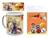 1art1 Dragon Ball, Super Saiyans Taza Foto (9x8 cm) Y 1 Dragon Ball, Set De Chapas (15x10 cm)