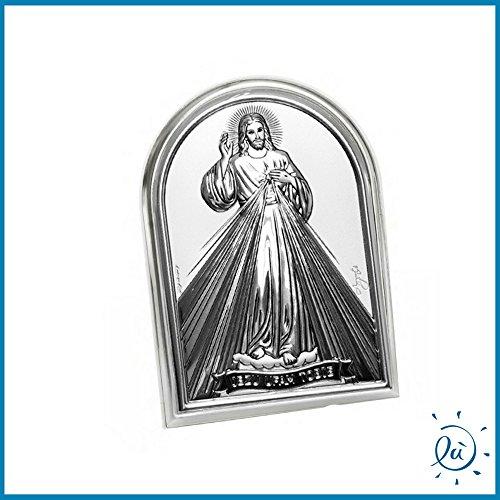 Albalù Italia Icona Sacra Cristo Cuore Argento Laminato con Retro in Legno Misura 7X10 cm