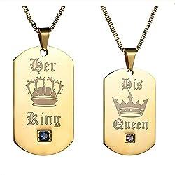 Gkmamrg Weihnachten Geschenke EIN Paar Damen Herren Pärchen Anhänger mit Halskette, Edelstahl Dog Tag Anhänger mit Gravur His Queen und Her King