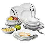 VEWEET Teresa Juegos de Vajillas 24 Piezas de Porcelana con 6 Cuencos de Cereales, 6 Platos, 6 Platos de Postre y 6 Platos Hondos para 6 Personas