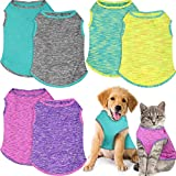 Frienda 6 Pieces Summer Pet T-Shirt Soft Sleeveless Dog Shirt Breathable Puppy Pullover Vest 6 Colors Cute Blank Pet Clothing Supply for Small Medium Cat Dog Puppy (M Size)