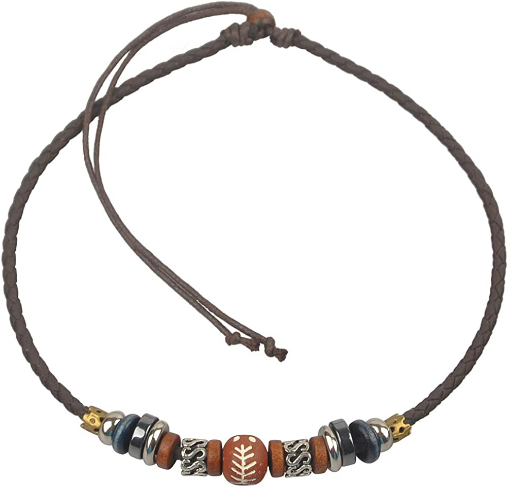 Ancient Tribe Adjustable Hemp Genuine Leather Beads Choker Necklace,16 Inches (Brown Leather, Red Bead)