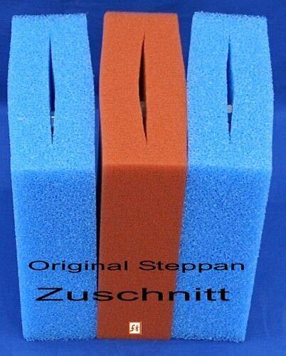 Steppan Filterschwamm 2 x Blau und 1 x Rot geschlitzt passend für Oase Biotec 5 25 x 25 x 8 cm Blau Grob = PPI 10 Rot Fein = PPI 30 1 Set