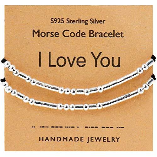 YooAi Pulsera de código Morse Regalo de Pareja para Mujeres y Hombres, Pulsera de Plata esterlina, 2 uds, Conjunto de Joyas Hechas a Mano Ajustables, te Amo