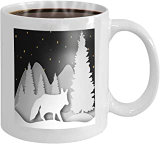 11 oz Coffee Mug fox forest layered paper art style template abstract d carving eps Color Novelty Ceramic Gifts Tea Cup