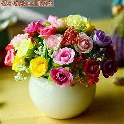 Jhyflower Eenvoudig te gebruiken kunstmatige bloemen mini bonsai pot kleine clapboard home decoraties kleine ornamenten kunstbloemen, citroen gele kleur mengen ronde vaas van rozen
