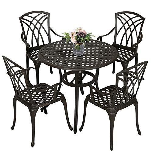 Nuu Garden 5 Piece Cast Aluminum Patio Dining Set - Outdoor Conversation Furniture Sets for Yard Porch Balcony