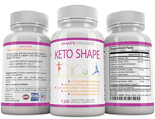 KETO SHAPE Fat Burn Formula: Max KETOSIS Energy Booster Complex Diet Pill that Works Best for Women and Men, Green Tea, Coffee Bean Extract, Raspberry Ketone, African Mango, Resveratrol 120 Veg Cap