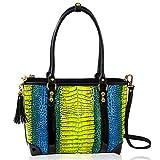Marino Orlandi Bolso mediano para mujer, diseño italiano, bolso cruzado de piel con relieve de cocodrilo, con asa superior, diseño multicolor con borla