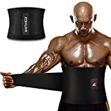 ZOHUMI Waist Trimmer for Men,Wide Waist Trainer Sweat AB Belt with Dual Compression Mesh Straps and Back Support for Weight Loss (L/ 28-41 inches)