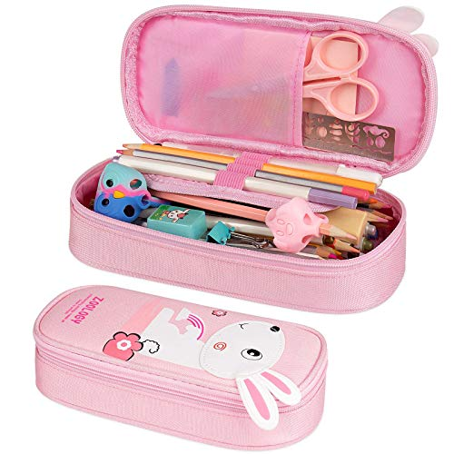 Pencil Case, Firesara Large Capacity Pen Case Pencil Bag Pouch Pen Pencil Marker Stationery Organizer with Zipper Big Storage Compartments for Teen Boys Girls Students School Office (Pink)