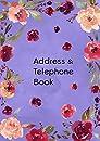 Address & Telephone Book: A5 Medium Contact Notebook Organizer with A-Z Alphabetical Index   Watercolor Flower Frame Design Blue-Violet