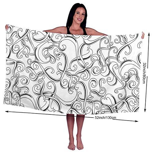 Naadloos patroon met krullen Vector Afbeelding Utopia Handdoeken Snelle Droge Microvezel Badhanddoek Zwembad Gym Handdoeken Hotel Kwaliteit Voor Unisex Aangepast