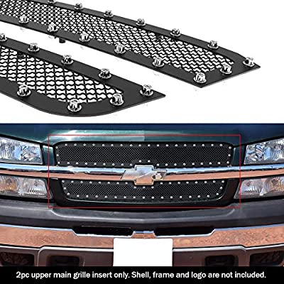 APS Compatible with 2003-2006 Chevy Avalanche 2003-2005 Silverado 1500 SS 2003-2004 2500 Rivet Stud Mesh Grille Grill CL5717H