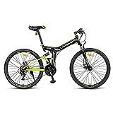 Bicicleta de Montaña, Bicicleta de Carretera, Ruedas de 26 Pulgadas, Cuadro de Acero con Alto Contenido de Carbono de 24 Velocidades, Freno de Disco de LíNea Y Bicicleta con Doble AmortiguacióN