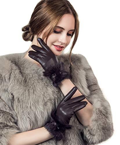 YISEVEN Guantes Mujer Pantalla Táctil otoño Invierno de Cuero de Oveja Piel de corder Dedo Completo Calenta Forroda Conejo Largo elegante Térmico muñeca nudo decoración paquete regalo,vino L