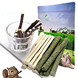 Dbeans Flourithing 3 Types of Combined Chew Toys Molar Sticks Sweet Bamboo Apple Branch Timothy Grass for Pets Chinchilla Squirrel Gerbil Hamster Squirrel Guinea Pigs (150g)