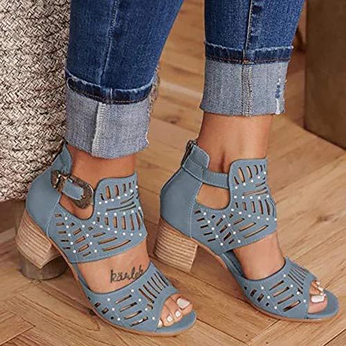 Zapatos de mujer con puntera abierta recortada y tacón medio, zapatos de vestir de piel sintética con correa al tobillo - Sandalias sexy apiladas, C