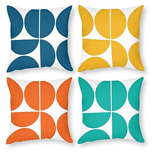 Vazzio Juego de 4 fundas de almohada, diseño abstracto moderno de mediados de siglo y decoración de sofá, cama, coche, 45,7 x 45,7 cm