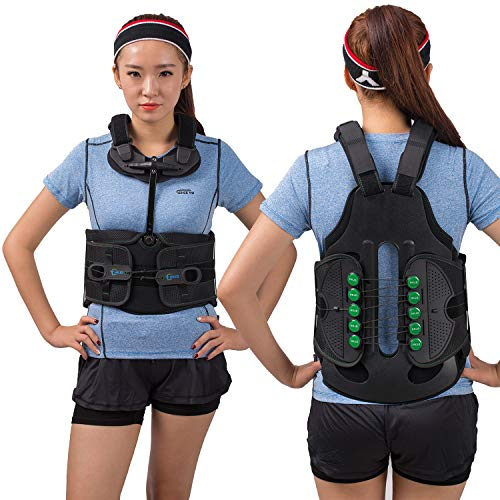 TODDOBRA TLSO Thoracic Full Back Brace - Universal Treat Kyphosis, Compression Fractures, Osteoporosis, Upper Spine Injuries, and Pre or Post Surgery with Hard Lumbar Support for Men and Women(XL)
