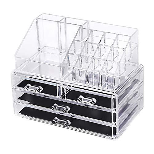 Kapian Make-up Organizer,4 Schubladen Transparent Schmuck Aufbewahrungsbox Kristallklar Kosmetische Aufbewahrung aus Acryl, Passend für Schmuck, Make-up-Pinsel, Lippenstifte und Mehr Halter Box
