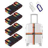 4Pcs Premium Rainbow Sangle Bagage, Ceinture Valise Réglable, Sangle Valise Voyage Ceinture Croisée avec 2Pcs Étiquette Bagage, pour Sécurité des Valises