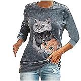 Camiseta de manga larga para mujer con estampado de animales, primavera y otoño, cuello redondo, diseño de gatos, gris, XL