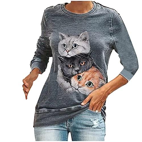 Damen-Top mit langen Ärmeln, Bluse mit Katzen-Druck, modisch, lässig, Rundhalsausschnitt, Slim Herbst, Langarm, Sport-Sweatshirt, Grau1, XX-Large