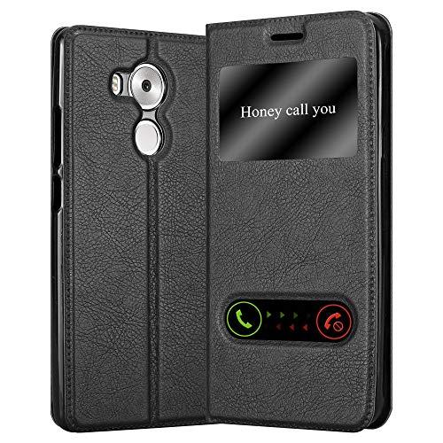Cadorabo Hülle für Huawei Mate 8 - Hülle in KOMETEN SCHWARZ – Handyhülle mit Standfunktion und 2 Sichtfenstern - Case Cover Schutzhülle Etui Tasche Book Klapp Style