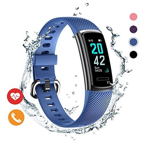 Huyeta Fitness Armband mit Pulsmesser herzfrequenz IP68 Wasserdicht Uhr Fitness Tracker mit Schlafmonitor Pulsuhren Aktivitätstracker Smart Armbanduhr Schrittzähler Damen Herren mit GPS Anruf SMS
